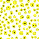 Безшовная картина монеток с долларами иллюстрация вектора