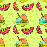 Безшовная картина мороженого и арбуза Стоковое Изображение