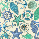 Безшовная картина морских животных и морских элементов стоковое изображение rf