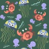 Безшовная картина морских животных бесплатная иллюстрация
