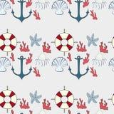 Безшовная картина морских символов Стоковая Фотография