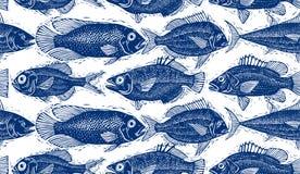Безшовная картина моря вектора, различные силуэты рыб Нарисованная рука Стоковая Фотография