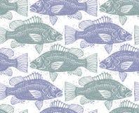 Безшовная картина моря вектора, различные силуэты рыб Нарисованная рука Стоковые Фото