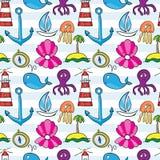 Безшовная картина моря: кит, шлюпка, остров, анкер, осьминог, jell Иллюстрация вектора