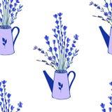 Безшовная картина, моча чонсервная банка, doodle вектора цветка лаванды нарисованный рукой красочный изолированная на белой предп Стоковые Изображения RF