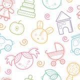 Безшовная картина младенца с красочными babyish элементами Стоковые Фотографии RF
