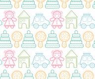 Безшовная картина младенца с красочными babyish элементами Стоковая Фотография