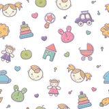 Безшовная картина младенца с красочными babyish элементами Стоковое Изображение