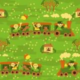 Безшовная картина младенца – перемещение поездом Стоковые Изображения