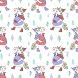 Безшовная картина нарисованного вручную единорога в крышке, ботинках и шарфе с сумкой подарков Фоновое изображение вектора на зим иллюстрация вектора