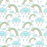 Безшовная картина нарисованных вручную радуг и облаков с дождем Фоновое изображение вектора на праздник, детский душ, печати един иллюстрация вектора
