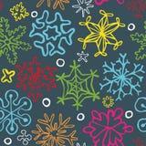 Безшовная картина нарисованных вручную снежинок Стоковая Фотография