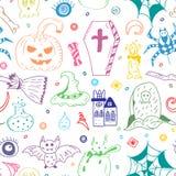 Безшовная картина нарисованных рукой символов хеллоуина Красочные чертежи Doodle летучей мыши, тыквы, призрака, паука, могилы бесплатная иллюстрация