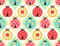 Безшовная картина насекомых ladybug иллюстрация штока