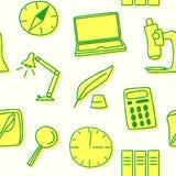 Безшовная картина научных и воспитательных аксессуаров в желтом цвете также вектор иллюстрации притяжки corel Стоковая Фотография