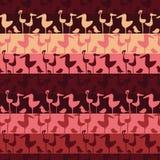 Безшовная картина нашивок вектора со строками розовых птиц иллюстрация штока