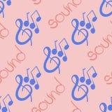 Безшовная картина на музыкальной теме при ключ и примечания скрипки нарисованные вручную Стоковое Изображение