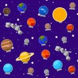 Безшовная картина на теме школы астрономии Стоковые Изображения RF