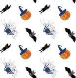Безшовная картина на halloween чертеж вручает ее нижнее белье утра вверх по теплым детенышам женщины вектор иллюстрация штока