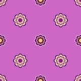 Безшовная картина, необыкновенные цветки на фиолетовой предпосылке Стоковые Изображения RF