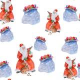 Безшовная картина Нового Года с акварелью Санта Клаусом и подарками иллюстрация штока