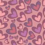 Безшовная картина дня валентинки с сердцами Стоковые Фото