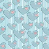 Безшовная картина дня валентинок с сердцами Стоковые Изображения RF