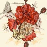 Безшовная картина обоев с маком цветет в годе сбора винограда Стоковое Изображение RF