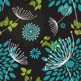 Безшовная картина одуванчиков и цветков Стоковые Изображения RF