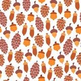 Безшовная картина осени конусов и жолудей иллюстрация вектора