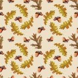 Безшовная картина осени с листьями иллюстрация штока