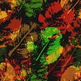 Безшовная картина отпечатков листьев Стоковое Фото