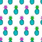 Безшовная картина от ананасов нарисованных рукой красочных на Стоковое Изображение