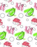 Безшовная картина от арбуза, вишни, клубники Стоковая Фотография