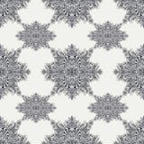 Безшовная картина от винтажного абстрактного флористического орнамента черным по белому Стоковое Изображение