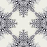 Безшовная картина от винтажного абстрактного флористического орнамента черным по белому Стоковая Фотография