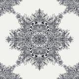 Безшовная картина от винтажного абстрактного флористического орнамента черным по белому Стоковые Изображения RF