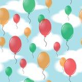 Безшовная картина от воздушных шаров в небе Стоковое Фото