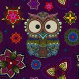 Безшовная картина от орнаментального сыча цвета с цветками и мандалой Африканский, индийский, тотем, дизайн татуировки Оно может  иллюстрация вектора