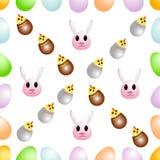 Безшовная картина от пасхальных яя, украшенных с смешными кроликами и цыплятами Стоковое Фото