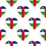 Безшовная картина от сердец с флагом центрально-африканского Re иллюстрация вектора