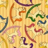 Безшовная картина лошадей игрушки Стоковая Фотография