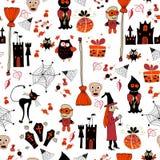Безшовная картина партии хеллоуина с значками Стоковое Изображение RF