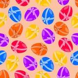 Безшовная картина, пасхальные яйца с смычком Стоковые Изображения