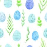 Безшовная картина пасхи акварели зеленых цветов весны и покрашенных яя иллюстрация вектора