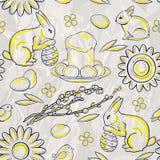 Безшовная картина пасхи на стилизованной предпосылке скомканной белой бумаги Стоковая Фотография RF