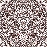 Безшовная картина Пейсли с цветками в азиатском чертеже руки стиля Стоковые Изображения RF