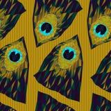 Безшовная картина пера павлина треугольников Стоковые Изображения