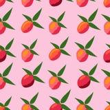 Безшовная картина персиков на розовой предпосылке иллюстрация штока