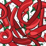 Безшовная картина перцев горячих чилей также вектор иллюстрации притяжки corel Стоковое Изображение